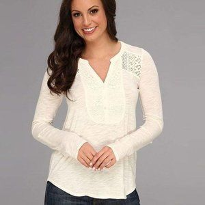 Lucky Brand Cream Lace Long Sleeve Henley Top S